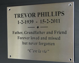 Engraved stainless steel plaque