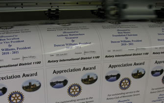 Rotary Club Appreciation Awards in the process of printing